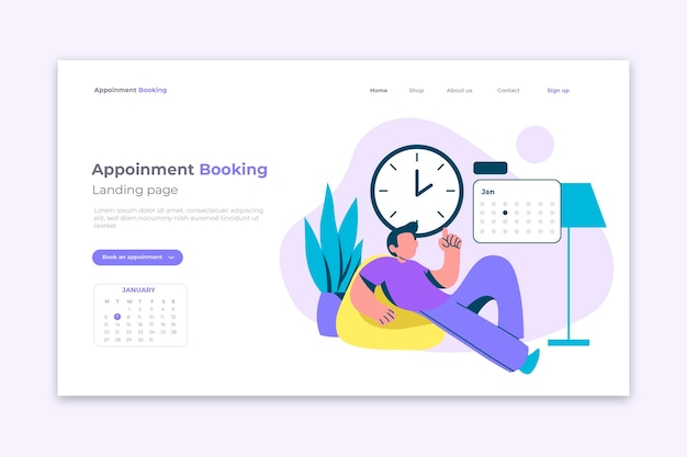 Landing page with appointment booking