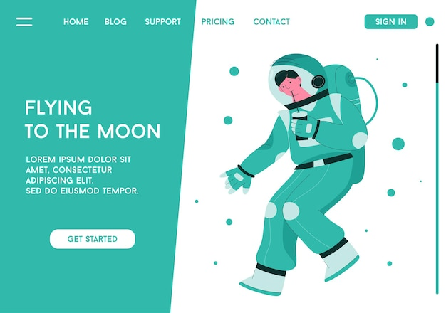 Landing page with astronaut, flying to the moon concept