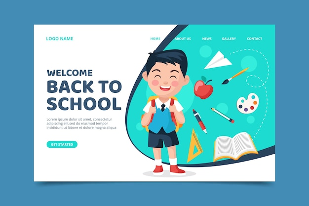Landing page with back to school theme