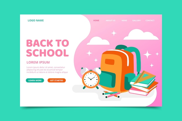 Landing page with back to school