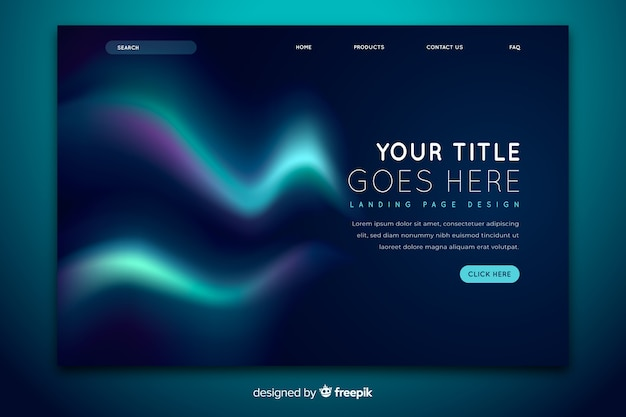 Landing page with beautiful northern lights