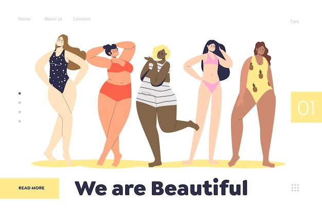 Landing page with beautiful women cartoon characters