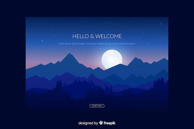 Landing page with blue gradient forest