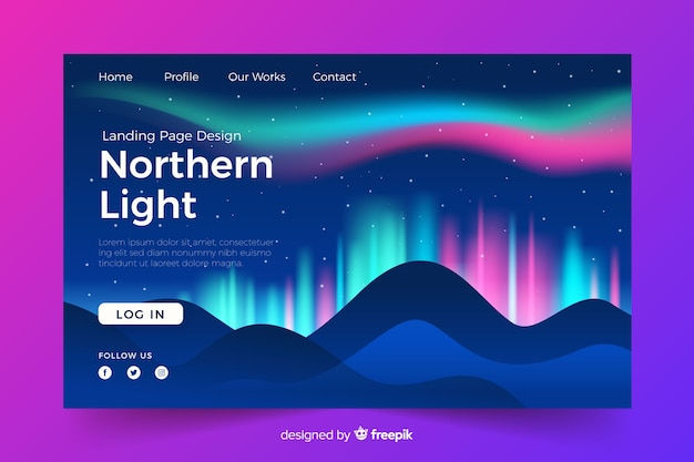 Landing page with bright northern lights