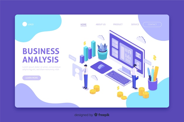 Landing page with business analysis