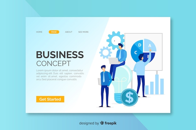 Landing page with business concept