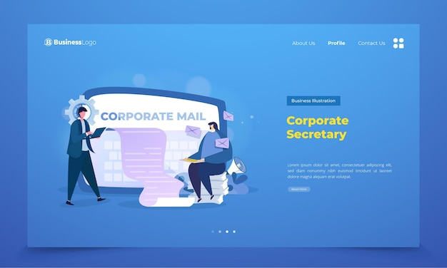 Landing page with business corporate secretary