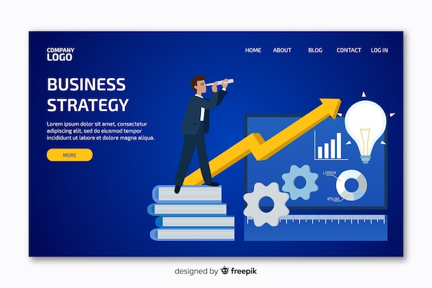 Landing page with business graph