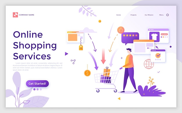Landing page with buyer or customer pushing supermarket cart with gift boxes or purchases and place for text. online shopping services, buying goods on internet. modern flat vector illustration.