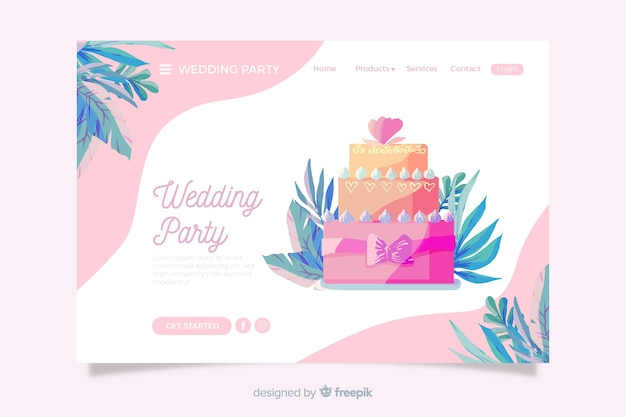Landing page with cake illustrated
