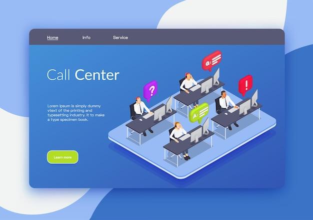 コールセンターの見出しリンクと詳細ボタンのあるランディングページ