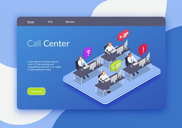 Landing page with call center headline links and learn more button