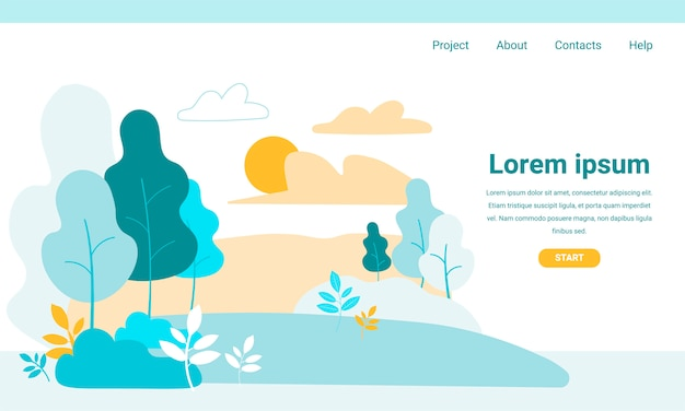 Landing page with cartoon green park vegetation