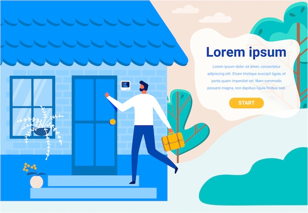 Landing page with cartoon man came home after work
