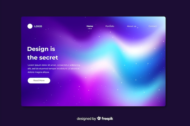 Landing page with charming northern lights