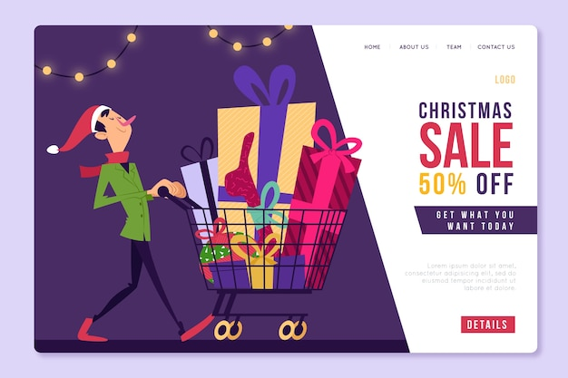 Landing page with christmas discount