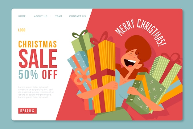 Landing page with christmas sale