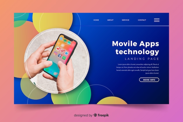 Landing page with circles and phone