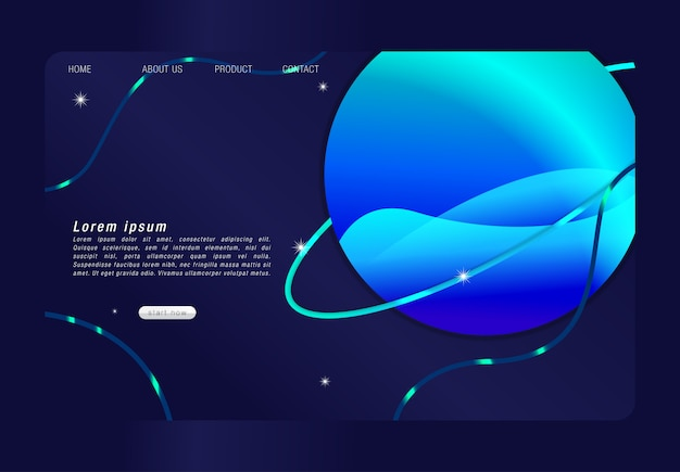 Landing page with colorful abstract background and trendy gradients