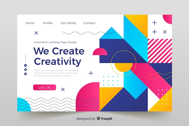 Landing page with colorful geometric aspects