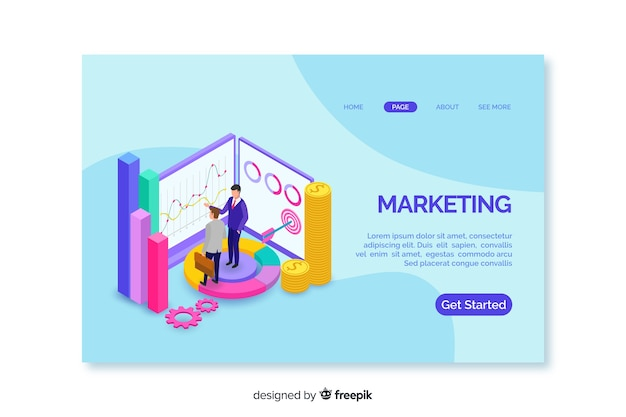 Landing page with colourful isometric graphs