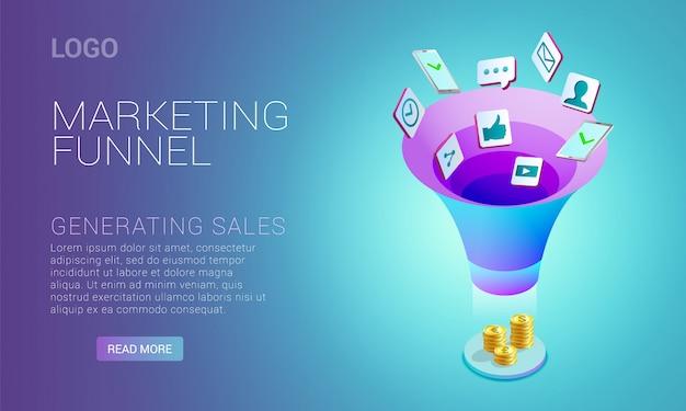 マーケティングの目標到達プロセスの概念を示すランディングページ