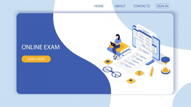 Landing page with concept of online exam, online testing.