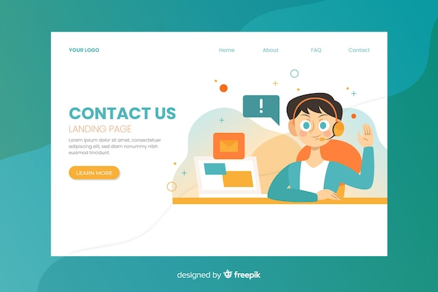 Landing page with contact us message