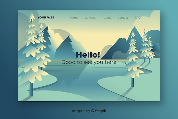 Landing page with cool gradient landscape