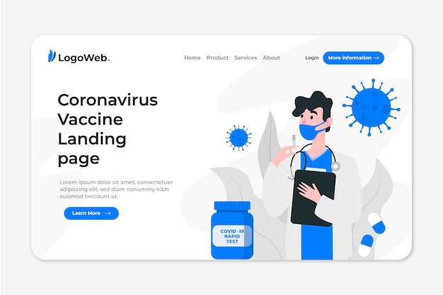 Landing page with coronavirus cure development