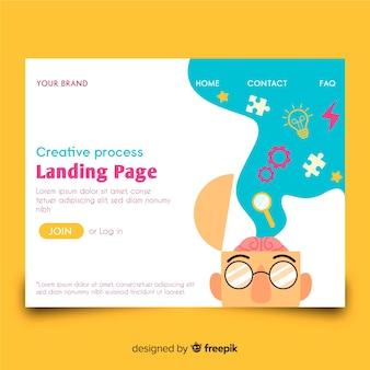 Landing page with creative process concept