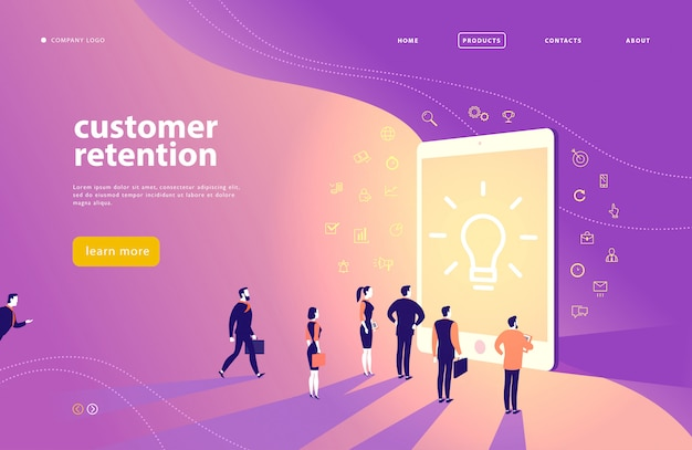 Landing page with customer retention theme