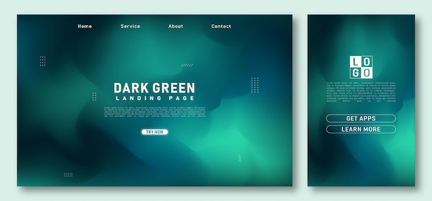 Landing page with dark green gradients