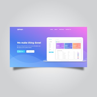Landing page with dashboard and abstract background