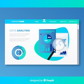 Landing page with data analysis concept
