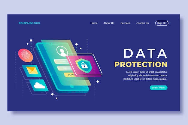 Landing page with data protection