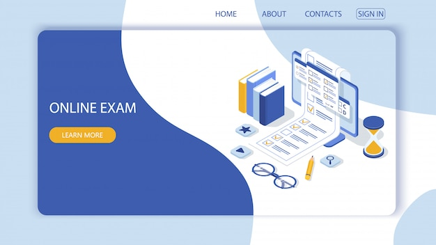 Landing page with design template for questionnaire form, online education survey. online exam computer web app.