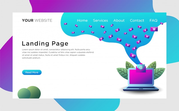 Landing page with email services