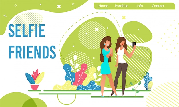 Landing page with female friends taking selfie