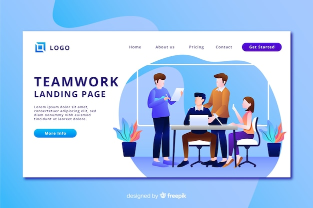 Landing page with flat design team