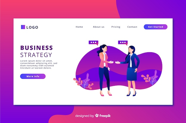 Landing page with flat design women