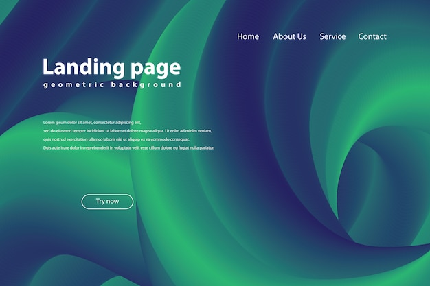 Landing page with fluid trendy geometric background