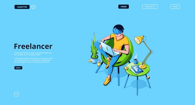 Landing page with freelancer man working in remote