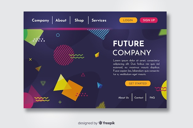 Landing page with geometric design