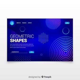 Landing page with geometric gradient shapes