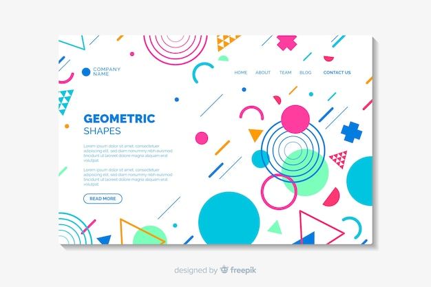 Landing page with geometric shapes