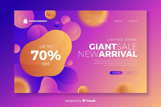 Landing page with giant sale