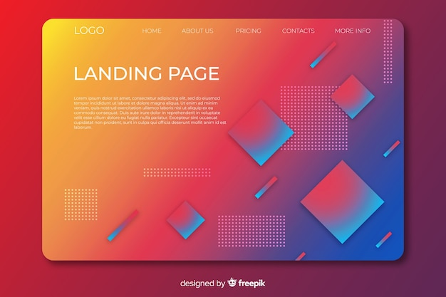 Landing page with gradient geometric shapes