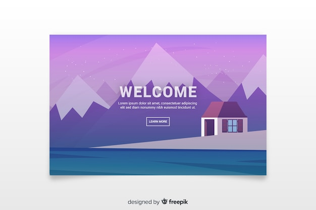 Landing page with gradient landscape
