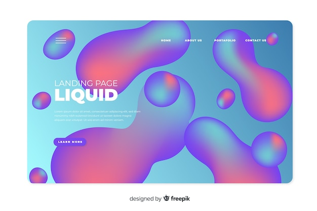 Landing page with gradient liquid shapes
